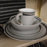 Crockery - whit design with black edging